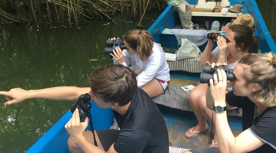 メキシコのラグーンで野鳥の生態系調査活動に取り組む環境保護ボランティアたち